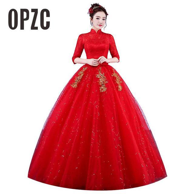 Real Photo Wedding Dresses 2017 High Neck Korean Style Red Romantic Bride  Princess Lace with Gold Embroidery Vestido De Novia b0e80f5f81f8
