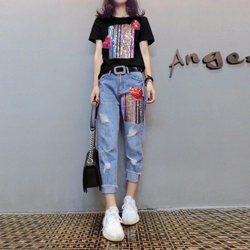 Summer Two Piece Sets Women Plus Size Short Sleeve Sequins Tshirts And Denim Ripped Jeans Sets Suits Casual Women's Sets M-5xl 34