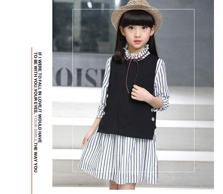 цены  Children's clothing 2017 spring new girls in the big children Korean version of the long-sleeved shirt shirt striped skirt two-p