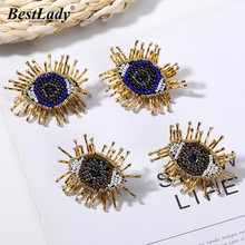 Best lady New Vintage Gold Color Bohemian Eyes Stud Earrings for Women 2 Designs Cute Bead Wedding Statement Gifts