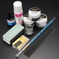 Nail Art Acrylic Powder Pen Brush File Liquid Primer Gel Buffer Forms Kits Set DIY Decoration Tools