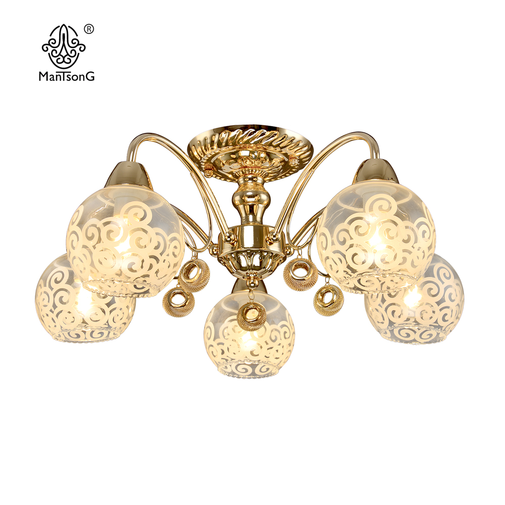 Classical Ceiling Light E14 Bulb Recommend Glass Vintage Gold Sconce 5 head Home Decor Lighting Fixture Bedroom Indoor
