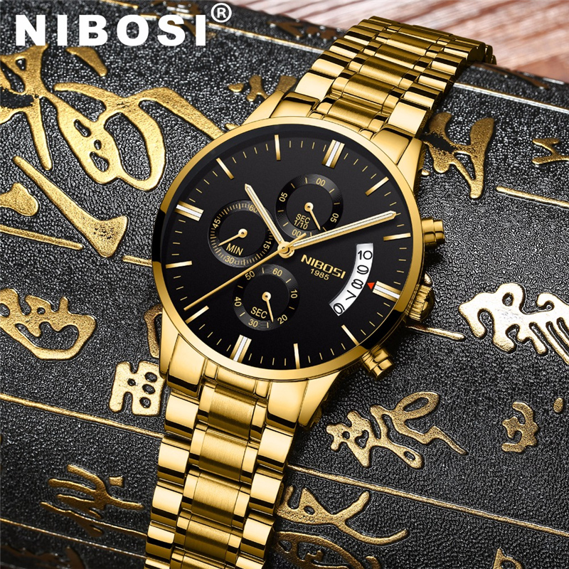 NIBOSI impermeable negocios relojes hombres de lujo de cuarzo militar reloj de cuero de los hombres de acero reloj relogio masculino