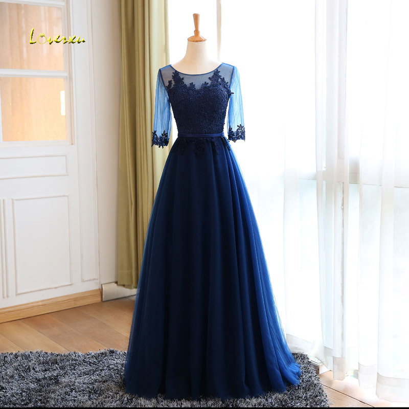 Loverxu New Arrival Scoop Neck Lace Up Floor-Length   Evening     Dresses   2019 Appliques Half Sleeve Formal Party Gown Robe De Soiree