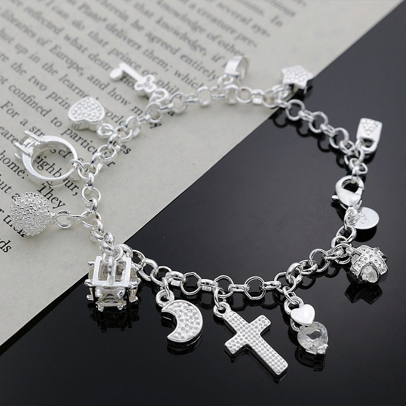 Beautiful fashion Elegant silver color 13 pendant charms moon star cross crystal Bracelet high quality Gorgeous jewelry H144