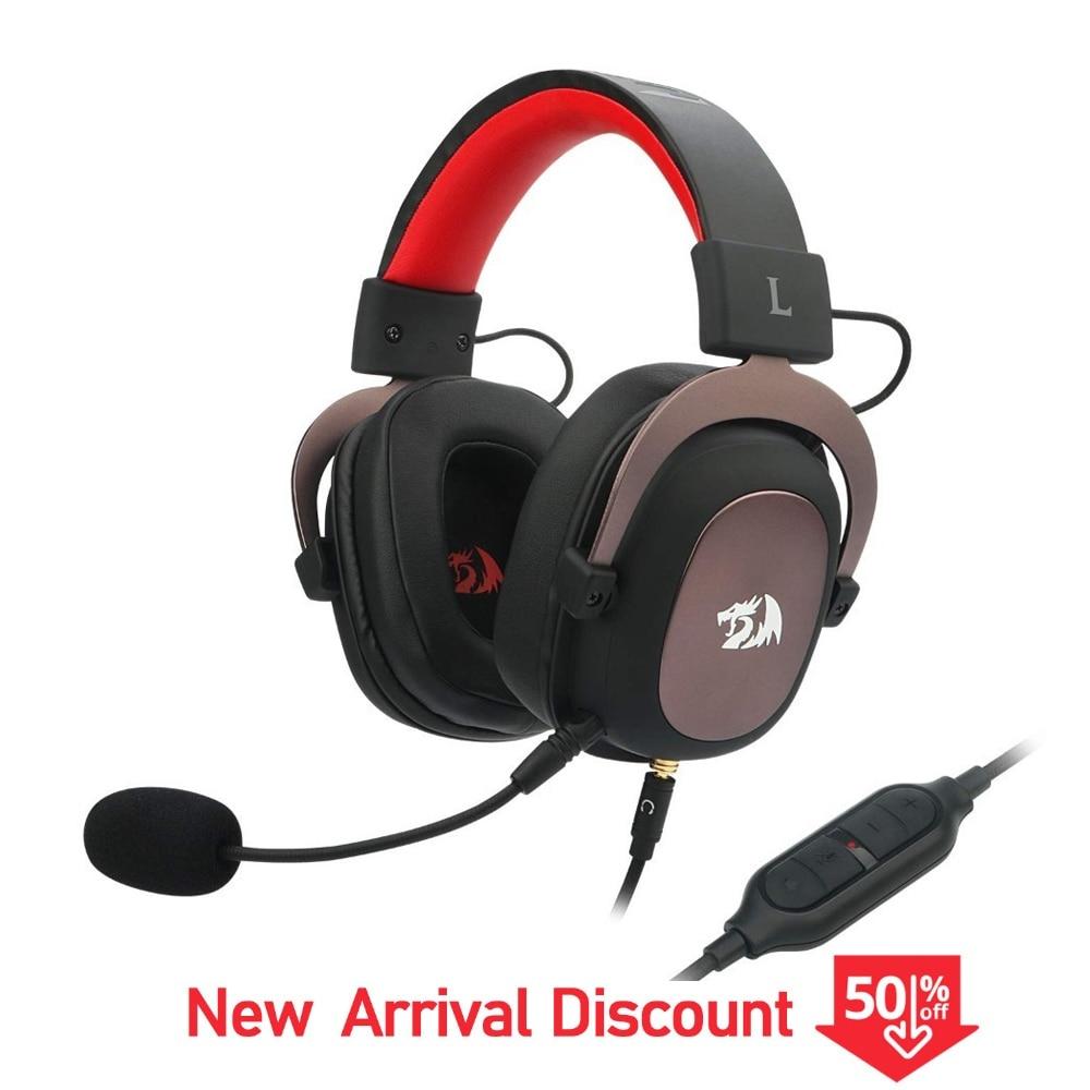 Redragon H510 Zeus Gamer Wired Gaming Headset 7.1 Surround-Sound Fone De Ouvido Com Microfone Destacável Para PC, PS4, xbox One, Interruptor