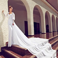 Luxury Sweetheart Backless Cathedral Train Sheer Long Sleeve Lace Julie Vino Wedding Dresses 2015