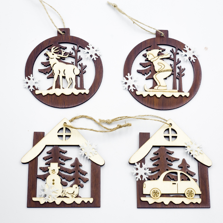 Cute Cartoon Smile Elk Wooden Ornament Christmas Tree Decoration Hanging Pendant Xmas Party Decor for Home Kids Gift Animal 2020 42
