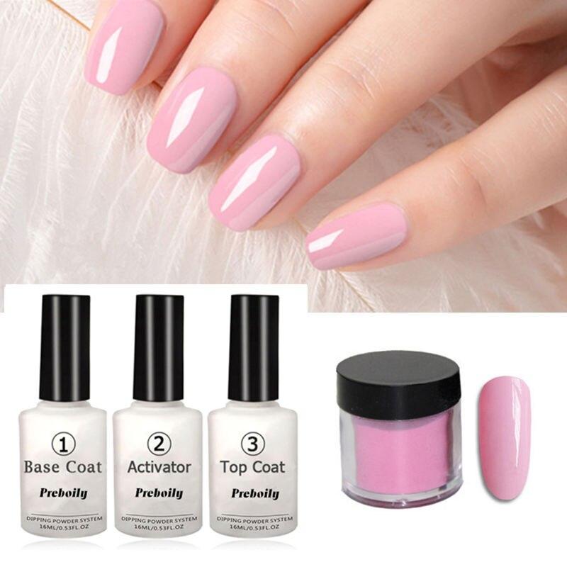 4 in 1 Luminoso Nudo di Colore Rosa Colori Immersione In Polvere Kit di Attrezzi Set 10 g/scatola 16 ml di Base prodotti per superficie e smalti Attivatore Dip polveri Unghie di Colore
