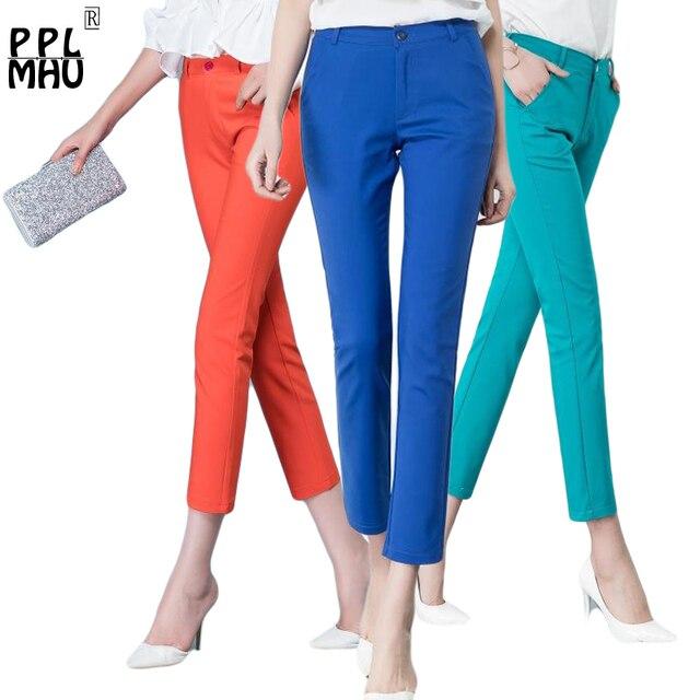קוריאני אופנה מכנסיים נשים אביב חמוד 20 סוכריות צבעים מכנסי עיפרון אלגנטי בסיסי למתוח גדול גודל אמא מכנסיים חותלות מכנסיים