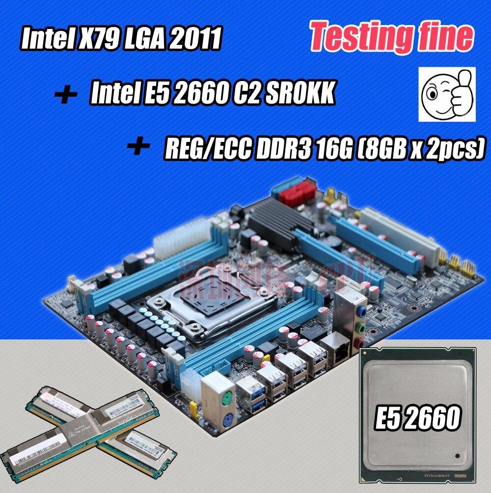 original Intel X79 socket LGA 2011 <font><b>motherboard</b></font> with CPU Xeon E5 2660 C2 SR0KK RAM (2*8G) 16G 1333Mhz DDR3 REG ECC 8GB 1333 board