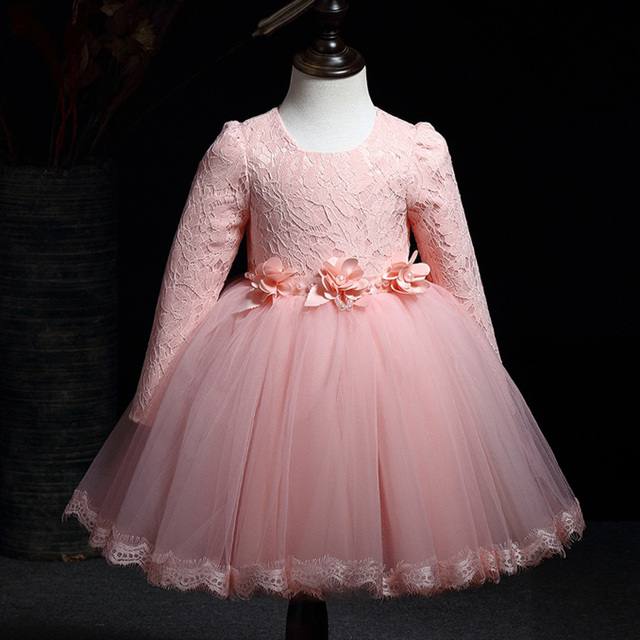 2T 10T girl dress 2018 new lace long sleeve tutu pink red white ...