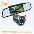 """Promoção CCD de backup câmara de marcha + 5 """"HD 800*480 Monitor de Espelho de Carro, traseira do monitor espelho retrovisor do carro de estacionamento câmera de Visão Traseira"""