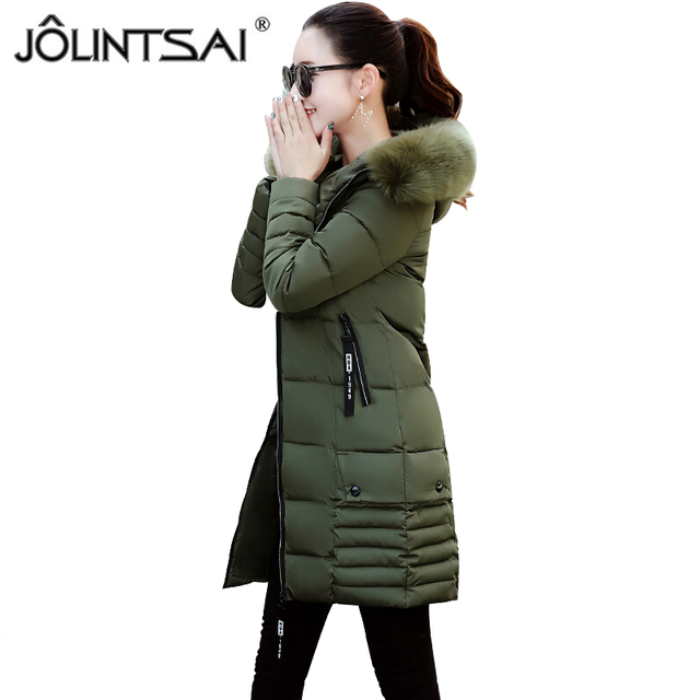 c31ae7e51205 JOLINTSAI Winter Coat Women 2017 New Long Parka Fashion Slim Female  Clothing Plus Size L-3XL Thick Womens Winter Jackets