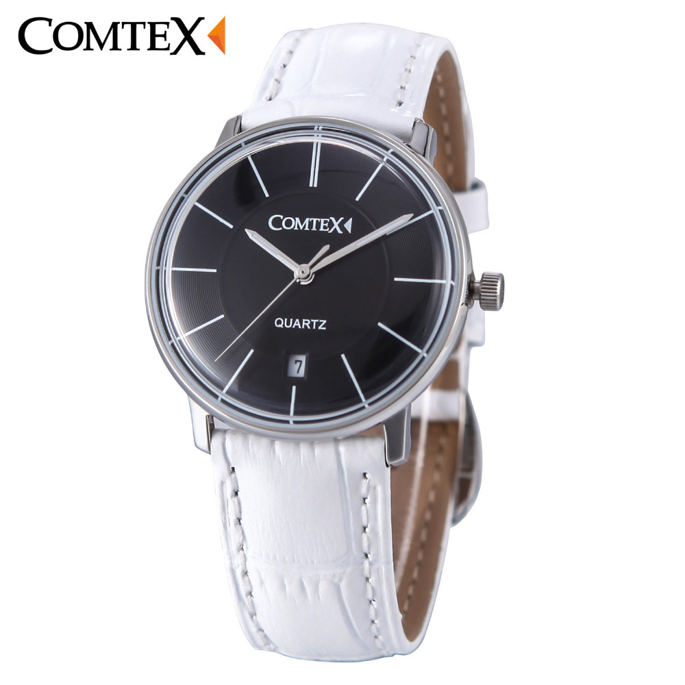 COMTEX Women Watches Black Dial with Date Sapphire Spherical Glass White Leather Band Waterproof Quartz Ladies Watch girls gift quartz watch with small diamond dots indicate leather watch band hearts pattern dial for women