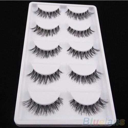 Fashion 5 Pairs Lot Black Natural Cross False Eyelashes Soft Long Makeup Fake Eyelashes Extension Beauty Tools Maquiagem 5K8W