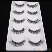 Latest 5 Pairs Lot Black Natural Cross Fake False Eyelash Soft Long Makeup Eye Lash Extension 5K8W