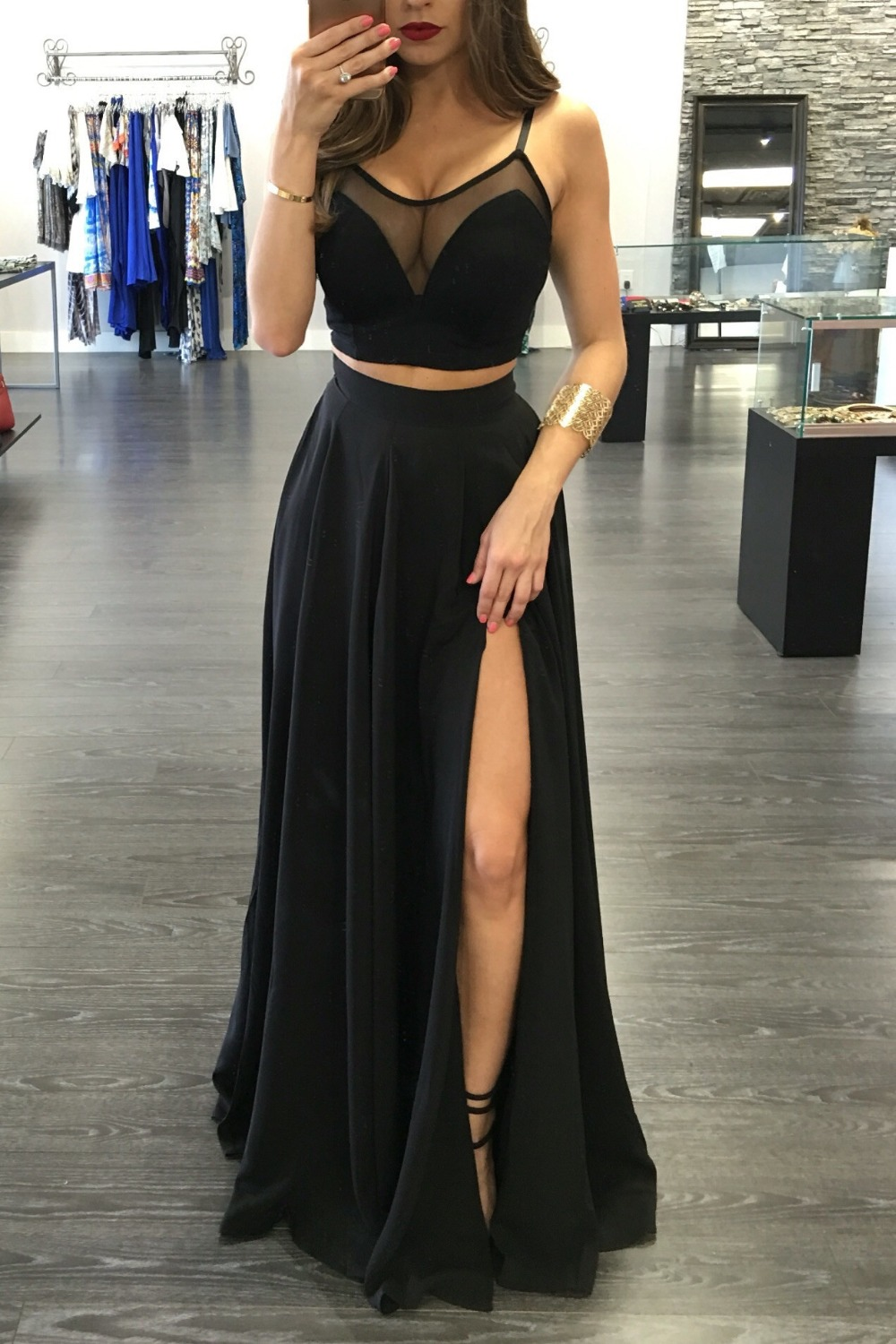 81a886f6d7a Sexy Two Pieces Illusion Black Prom Gowns Sleeveless Front Split Spaghetti  Straps Long Evening Dresses Cheap