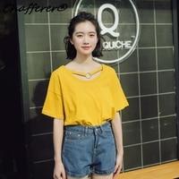 Chafferer原宿スタイルかわいい夏チョーレディースtシャツファッションvネックハーフスリーブtシャツ女性のtシャツ韓国ルーズクロップトッ