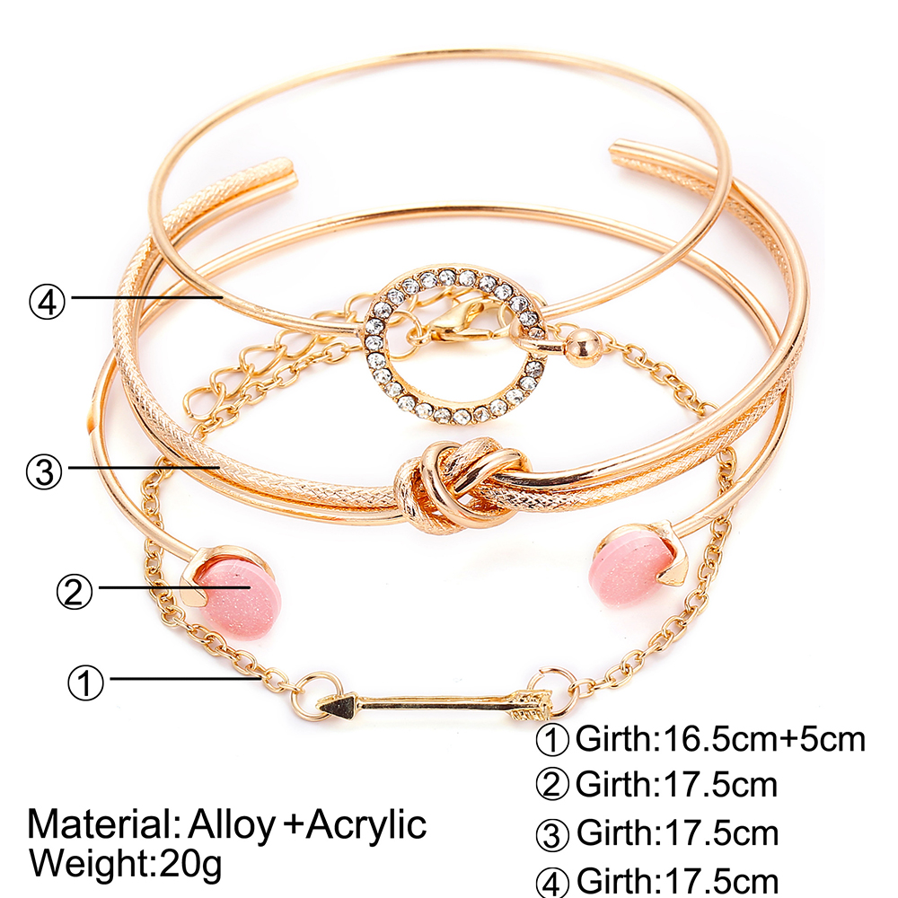 OLOEY Hot Women Brecelets Simple Knot Alloy Open Bracelet Femme Arrow Crystals Bangles Boho Hand Chain Jewelry Accessories Gifts 10