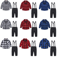 2019 New autumn children's plaid top bib pants gentleman boys evening party clothes kids long sleeve bow shirts trousers suit