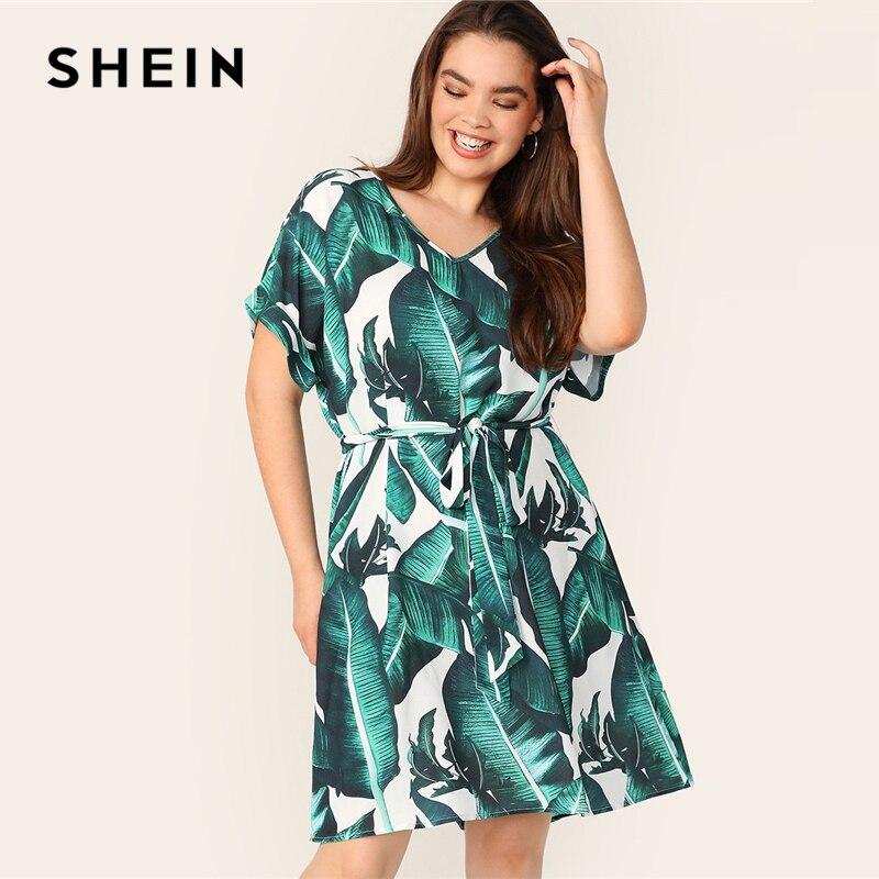 SHEIN плюс v-образный вырез тропический принт с поясом платье женское лето 2019 туника бохо прямое с поясом плюс размер платье с коротким рукавом