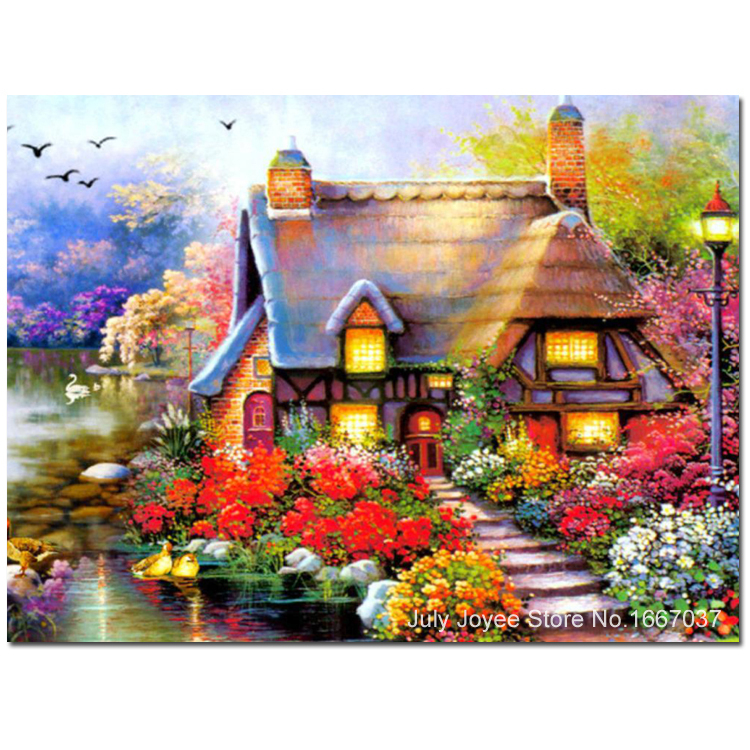 Online Beautiful Homeland House Around With Flowers Dreamlike Home Diamond Painting Scenery Picture Of Rhinestones Hobbies And Crafts Aliexpress