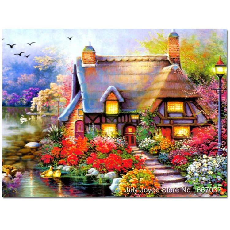 beautiful homeland house around with flowers dreamlike