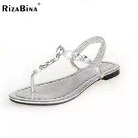 Mujer zapatos de verano de estilo nueva moda mujer sandalias rhinestone mujeres sandalias planas sandalias de gladiador flip flops tamaño 35-40 WD0047