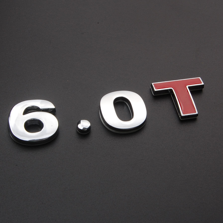 Metal Car 6.0T 6.0 T Turbo Engine Rear Side Emblem Badge Sticker FIT for 57 62 Car Styling Auto Accessories Car Stickers