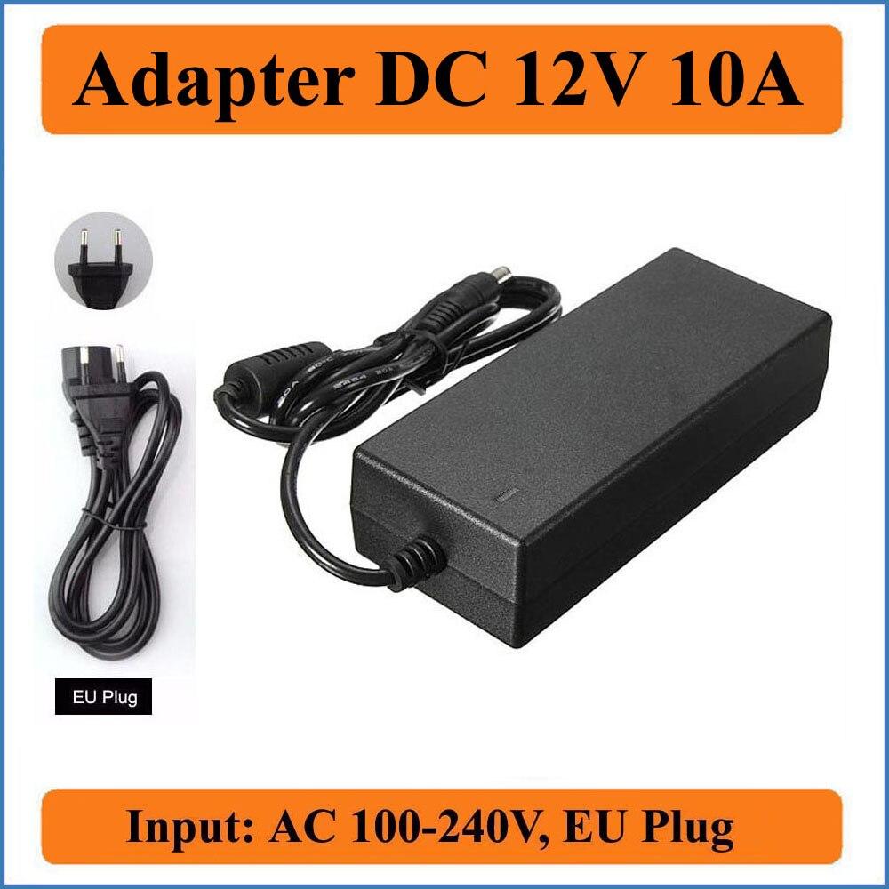 12V 10A EU Plug AC DC Adapter AC100-240V Converter to DC12V Power Adapters for LED strip light/Wireless Router/Security ADSL Cat