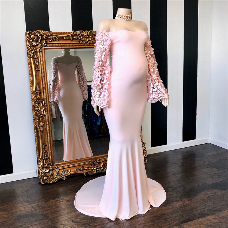 Pink Mermaid Stretchy Pregnant   Prom     Dresses   With Sheer Long Sleeve Off Shoulder Robe De Soiree Formal Backless Maternity   Dress