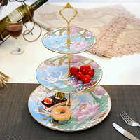 3 Layers European Style Ceramic Fruit Plate Creative Modern Room Tea Cake Cake Stand Frame Party Cake Plate Room Decoration