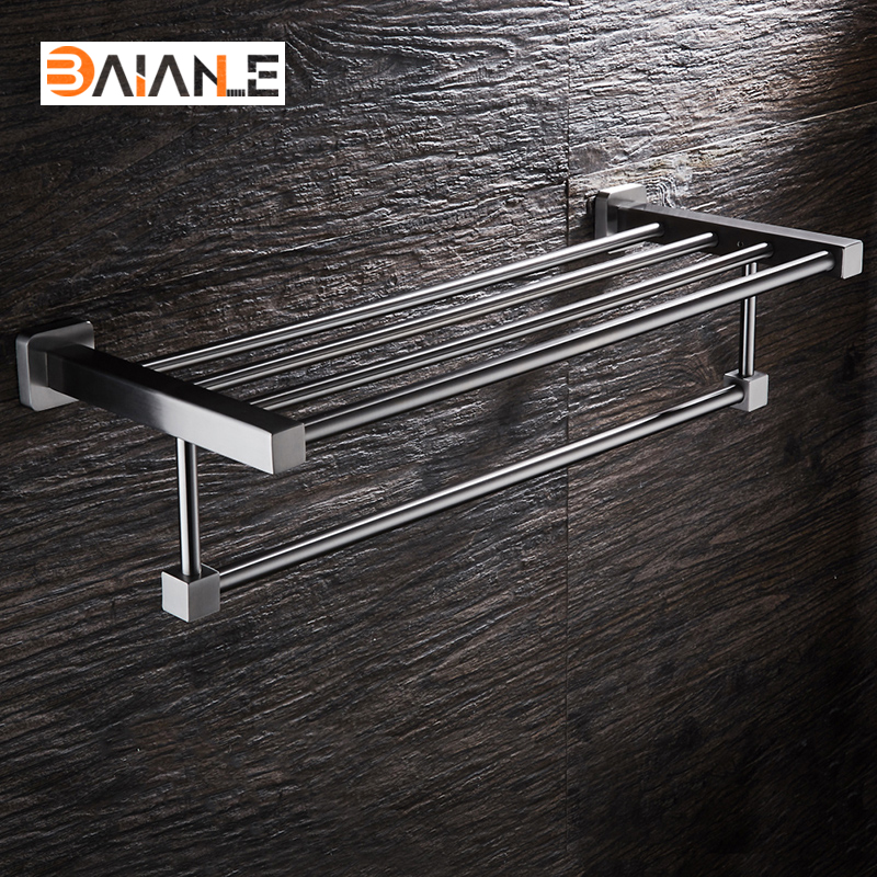 Bathroom Towel Rack Stainless Steel Brushed wall-mount towel Holder towel Shelf acessorios viborg deluxe sus304 stainless steel wall mounted bathroom towel rack shelf towel holder storage brushed
