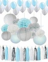 1 Satz Silber Weiße Farbe Papier laternen papierkugeln Tissue blume Pom Poms Baby blue Themenorientierte Partei Hängen Dekor Favor