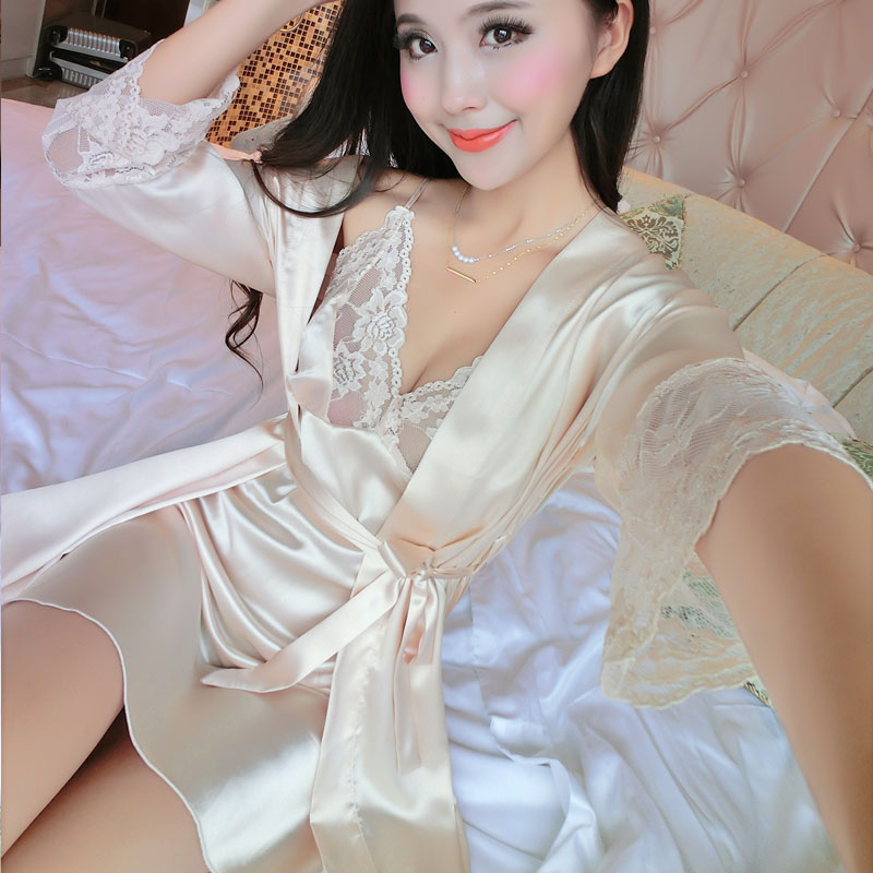 2017 New Summer Women Long Sleeve Silk Sleepwear Nightgown Set Temptation Sexy Robe Nightdress Two Piece