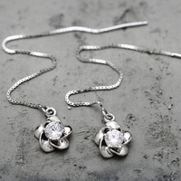 100 Sterling Silver Jewelry Plum Blossoms Korean Sterling Silver Ear Wire Silver Earrings V Austrian Top