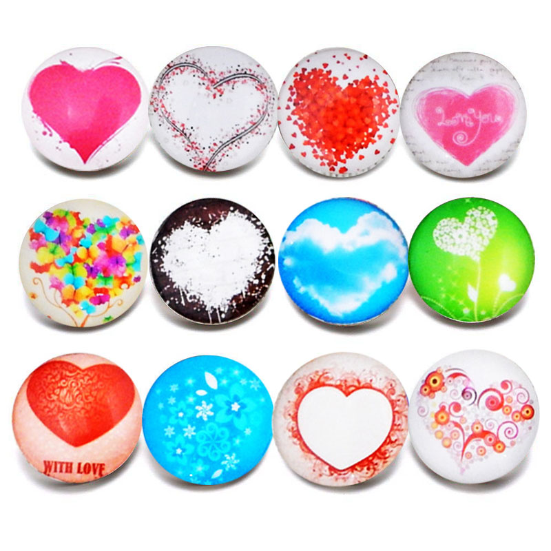 10pcs/lot New Glass Snap Jewelry Mixed Beautiful Heart Pattern 18mm Glass Snap Buttons For DIY Snap Bracelet Valentine's Day
