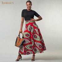 BOHISEN 100% Cotton African Print Skirts Bazin African Dresses for Women Fashion Dashiki Skirts Robe Clothes Vestidos
