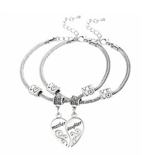 2PCS Silver Plated Mother Daughter Broken Splicing Heart Bracelet Bangle Mom Women Girl Femme Charm Statement Jewelry Party