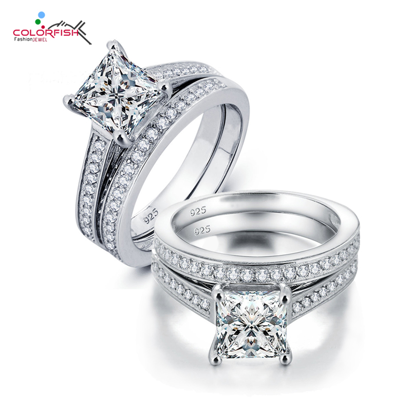 COLORFISH Luxury 1.6 Carat Princess Cut Synthetic SONA Engagement Ring Set Authentic 925 Sterling Silver Womens Double Ring Set