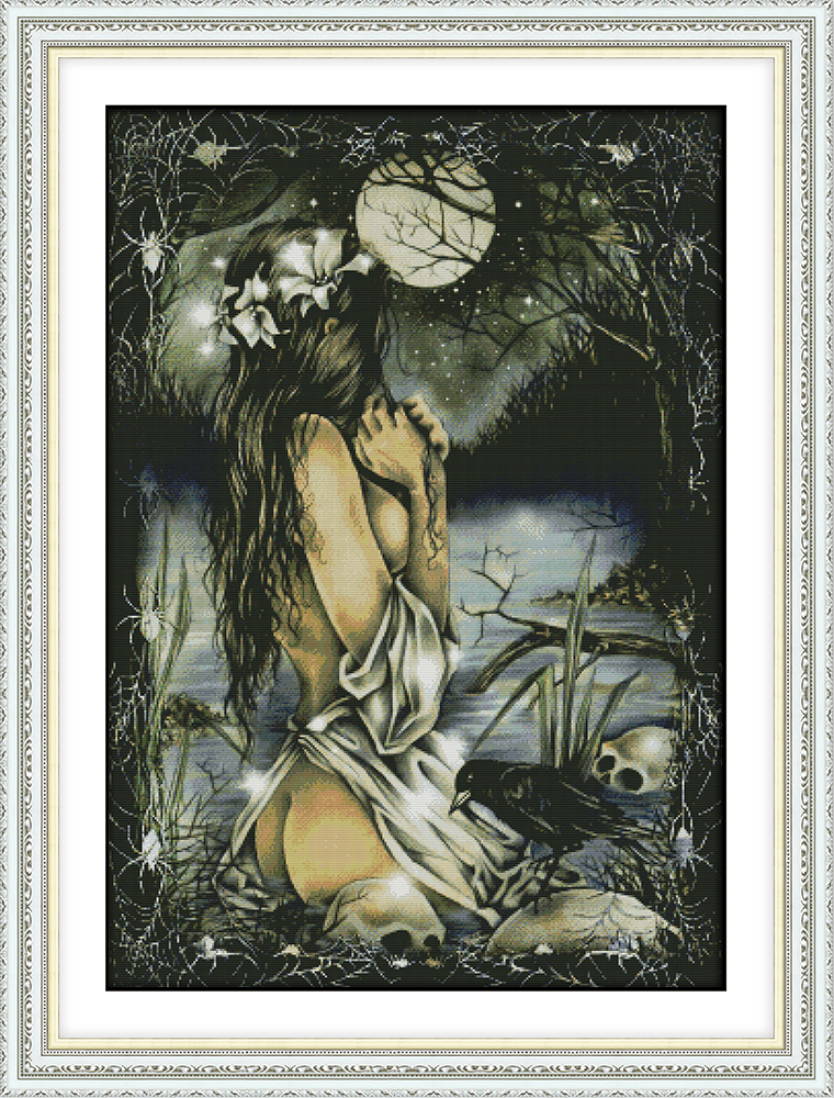 Women And The Full Moon Cross Stitch Kit Aida 14ct 11ct Count Printed Canvas Stitches Embroidery DIY Handmade Needlework
