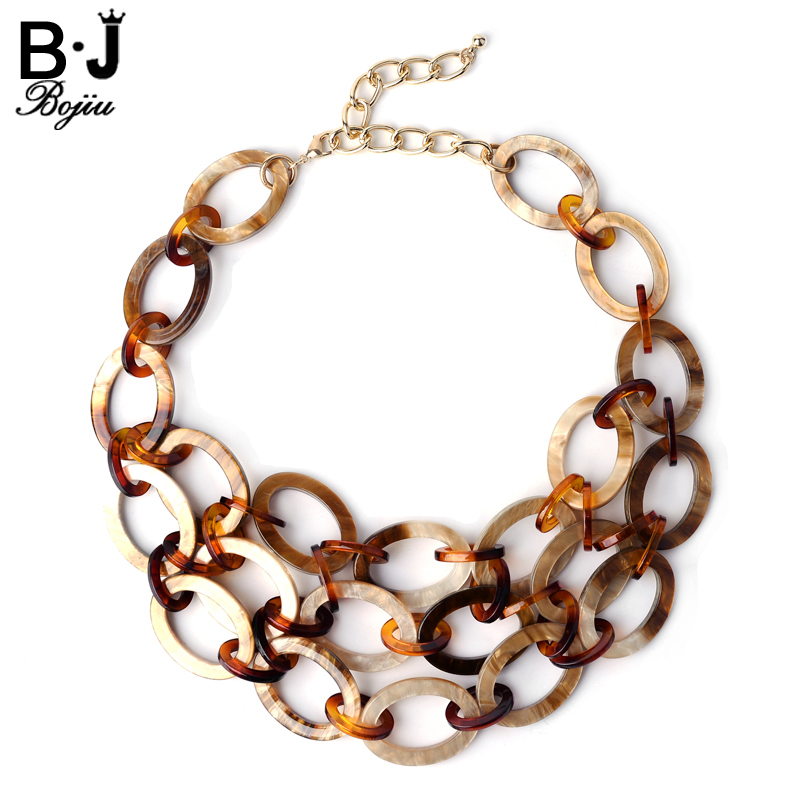 BOJIU Women Necklace Acrylic Necklaces Long Noble Chain 3 Layers Long Necklaces For Women NK1028 chukui 3 layered chain necklace women silver layers beads chain necklace gifts for girls cheap 18 inch