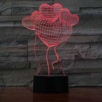 3D LED Đèn USB Night Tình Yêu Bong Bóng Trái Tim Creative Valentines Ngày quà tặng 7 Thay Đổi Màu Sắc Đèn Acrylic Năm Mới Gift Trang Trí Nội Thất