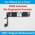 Oficial para el iphone 6 s 4.7 pulgadas placa madre original 64 gb placa lógica placa base sin huellas digitales fichas completas de ios desbloquear en todo el mundo