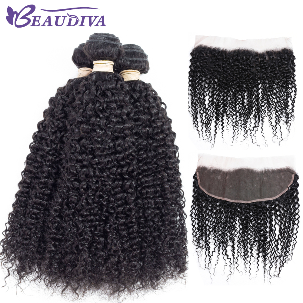 BEAUDIVA Pre-Colored Brazilian Kinky Curly Soft Human Hair Weave 3 Bundles With 13*4 Lace Frontal Closure Free Shipping