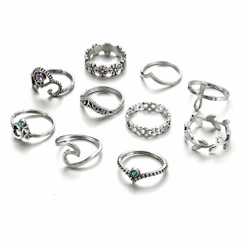 2018 10pcs/Set Women Bohemian Vintage Silver Stack Rings Above Knuckle Blue Rings Set Gir Women Gift Wedding Party Event Jewel