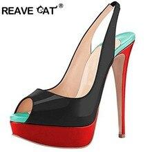 a6a487bf4d REAVE GATO Sapatos de salto Alto mulher bombas Plataforma Peep toe couro de  Patente das Mulheres Glitter Feminino Partido Sólido.