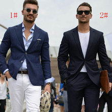 Custom Made Navy Blue Men Suits for Wedding Black Business with Pants 2Piece Terno Masculino Trajes Costume Homme