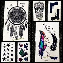 Sexy Non-Toxic Flash Dreamcatcher Tattoo Women Fake Black Henna Tattoo Stickers GH089 Dream Catcher FLower Feather Tattoos Paste